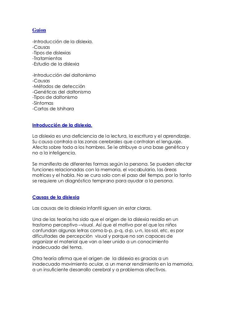 Guion<br />-Introducción de la dislexia.-Causas-Tipos de dislexias-Tratamientos-Estudio de la dislexia-Introducción del da...