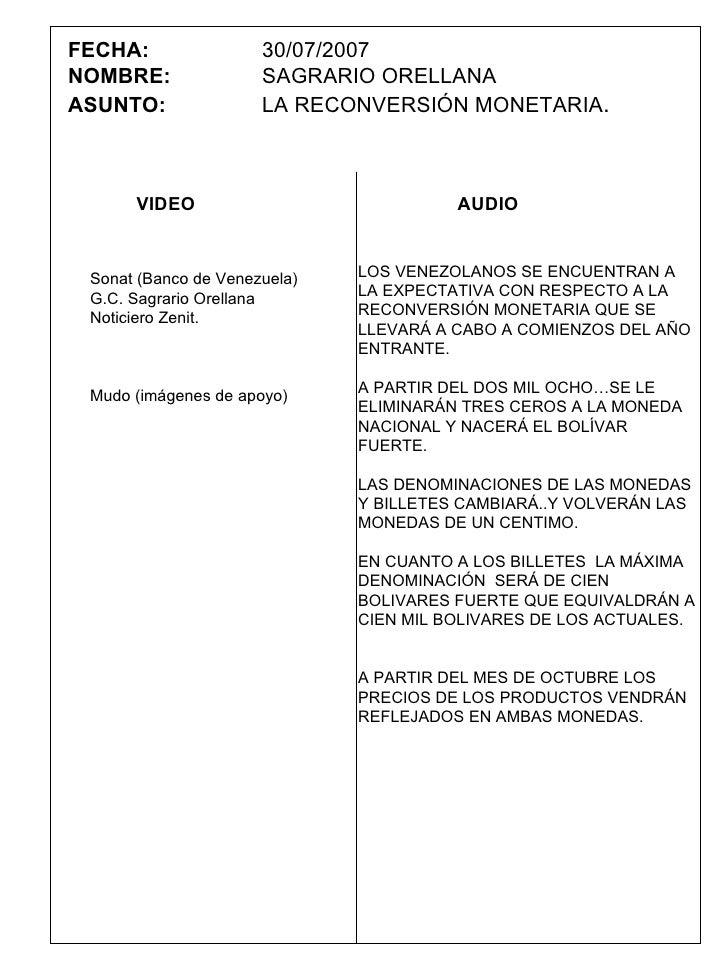 FECHA:   30/07/2007 NOMBRE: SAGRARIO ORELLANA ASUNTO: LA RECONVERSIÓN MONETARIA . LOS VENEZOLANOS SE ENCUENTRAN A LA EXPEC...
