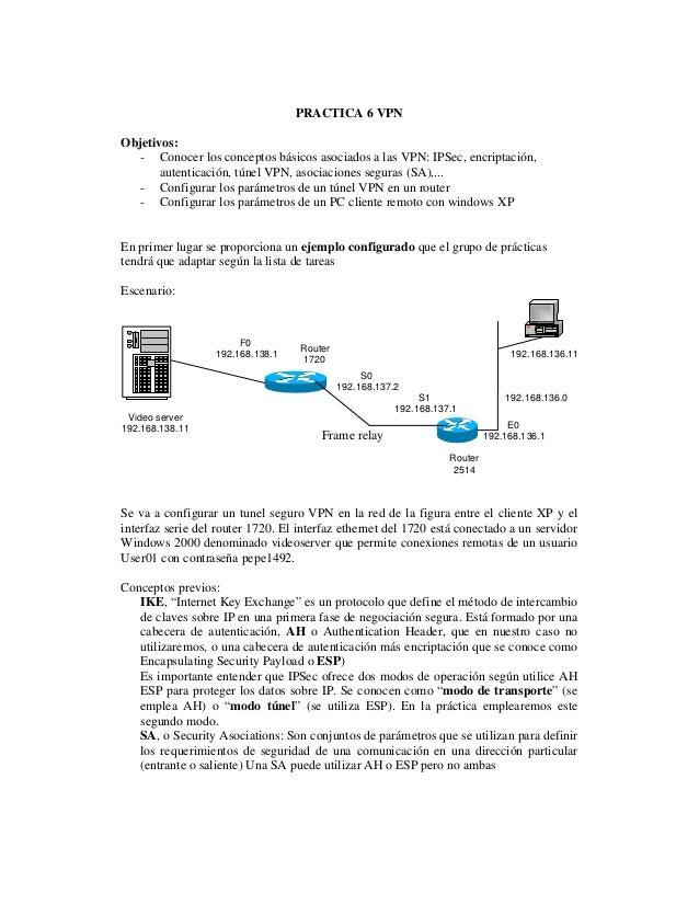 PRACTICA 6 VPN Objetivos: - Conocer los conceptos básicos asociados a las VPN: IPSec, encriptación, autenticación, túnel V...