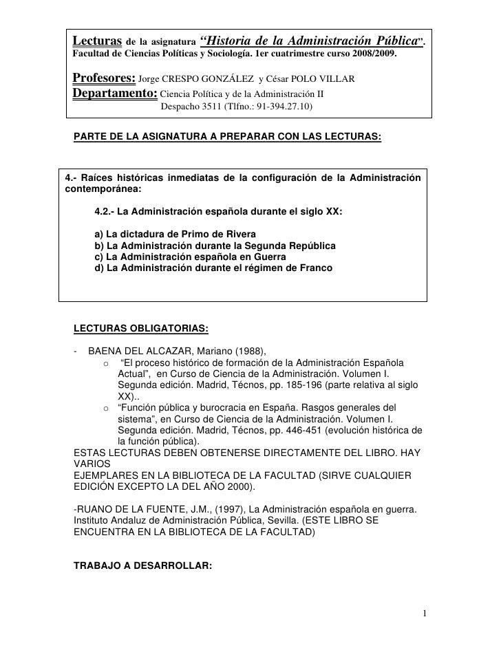 """Lecturas de    la asignatura """"Historia de la Administración Pública"""".  Facultad de Ciencias Políticas y Sociología. 1er cu..."""