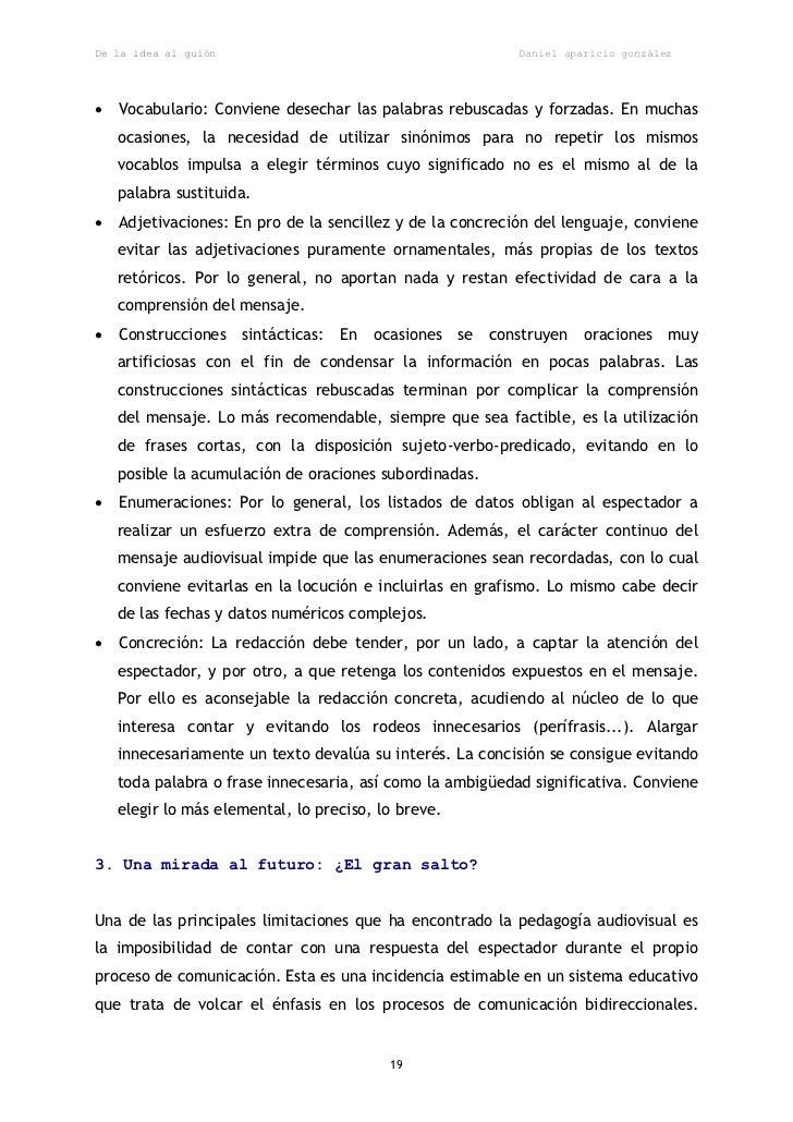 De la idea al guión                                           Daniel aparicio gonzález   Vocabulario: Conviene desechar l...