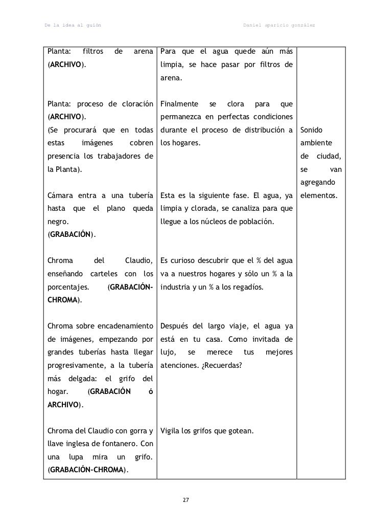 De la idea al guión                                                    Daniel aparicio gonzálezPlanta:       filtros      ...