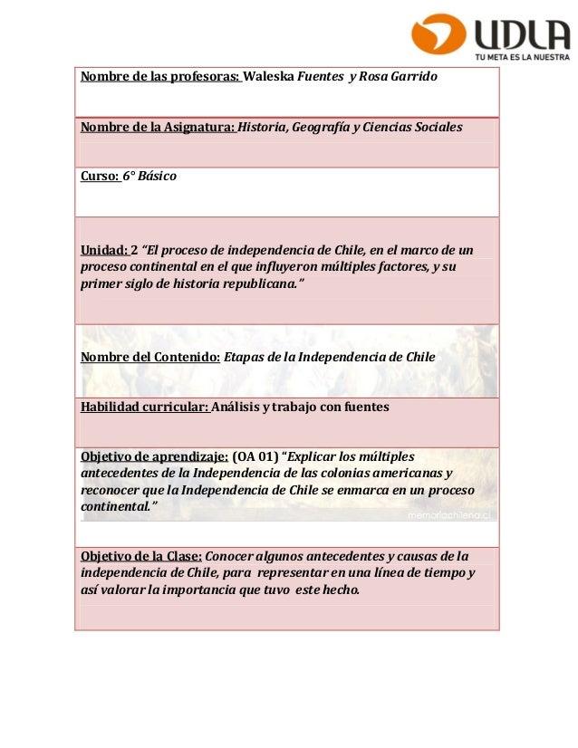 Nombre de las profesoras: Waleska Fuentes y Rosa Garrido  Nombre de la Asignatura: Historia, Geografía y Ciencias Sociales...