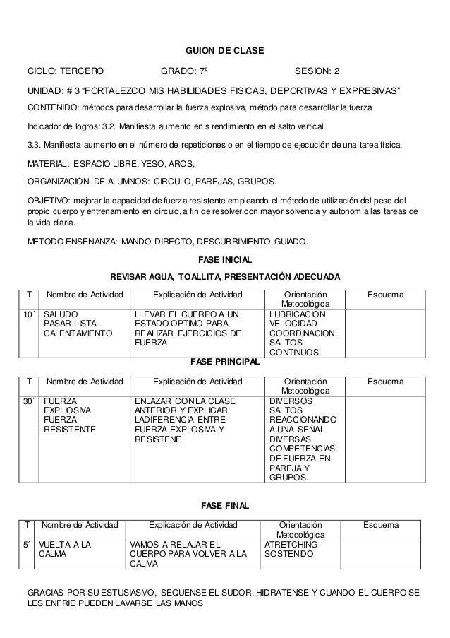 GUIÓN DE CLASE  Centro Escolar: Grado: Octavo Unidad: 1  Contenidos:  Conceptuales: Beneficio del desarrollo de la capacid...