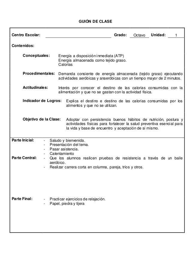 GUION DE CLASES  Centro Escolar: Grado: 8º Unidad: 3  Contenidos:  Conceptuales: Estructura, función e importancia de la c...