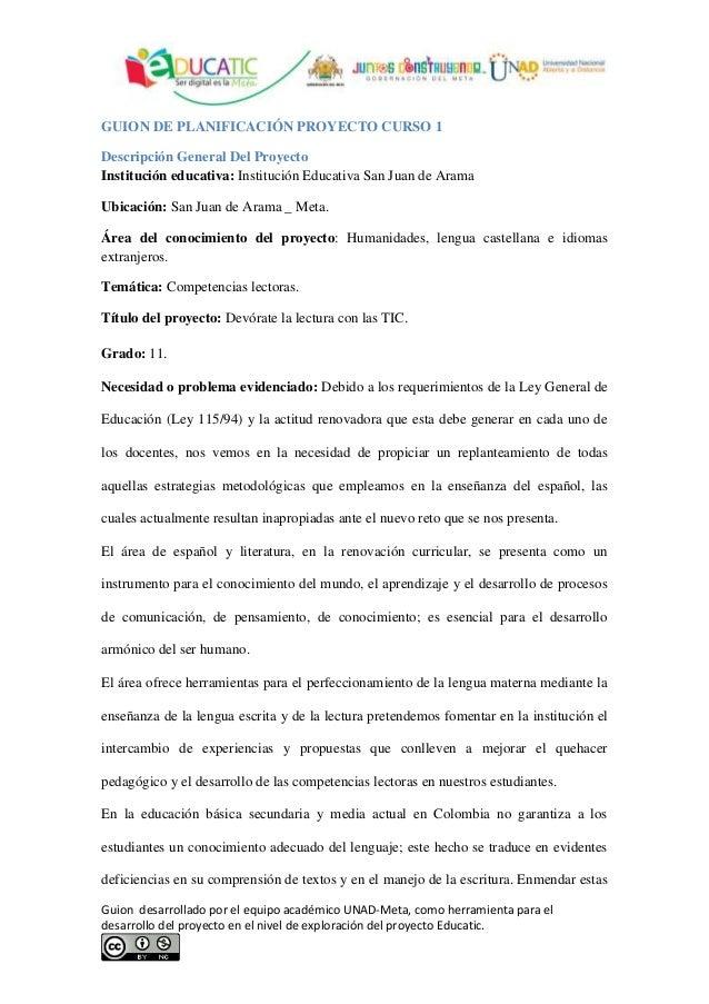 Guion desarrollado por el equipo académico UNAD-Meta, como herramienta para el desarrollo del proyecto en el nivel de expl...