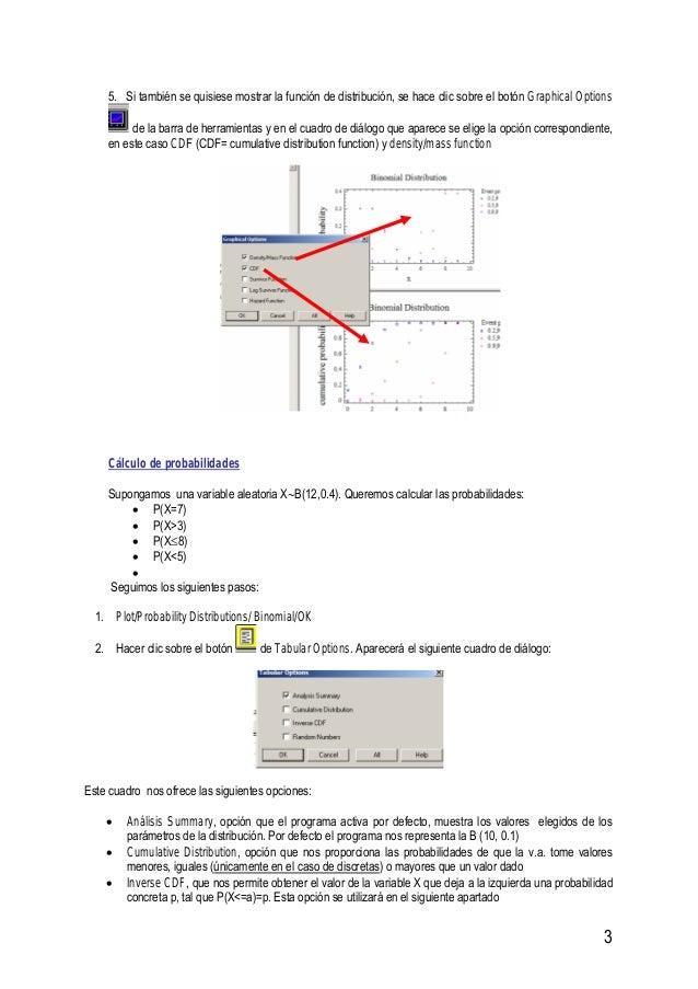 3 5. Si también se quisiese mostrar la función de distribución, se hace clic sobre el botón Graphical Options de la barra ...