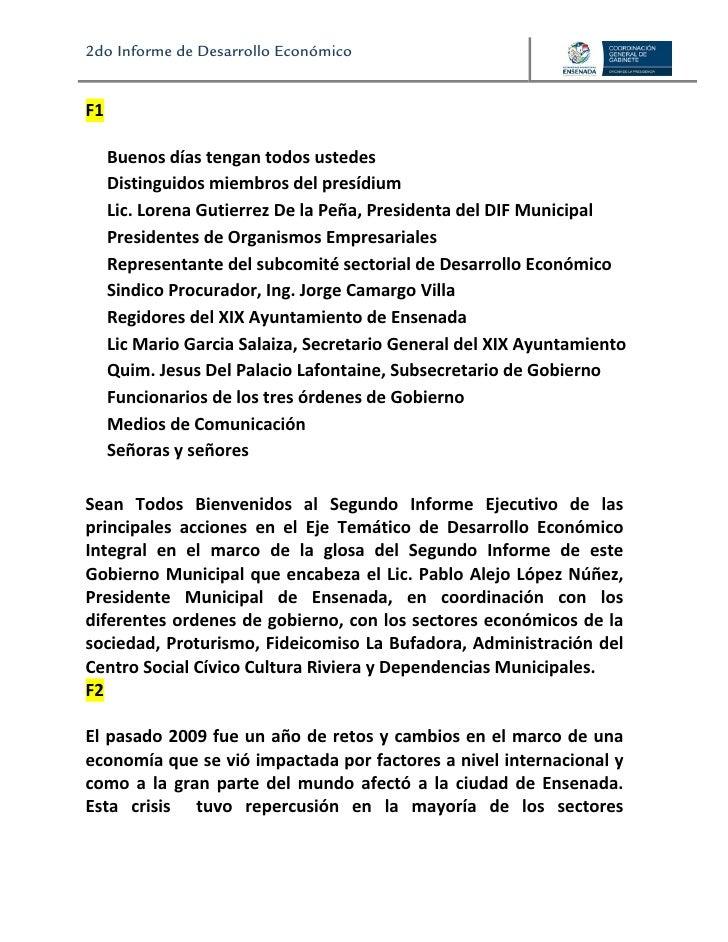 2do Informe de Desarrollo Económico                                                                                      ...