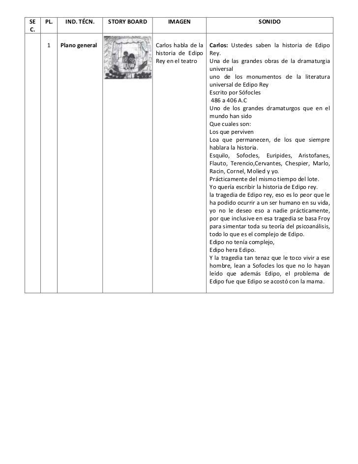 SE   PL.    IND. TÉCN.     STORY BOARD       IMAGEN                             SONIDOC.     1     Plano general          ...