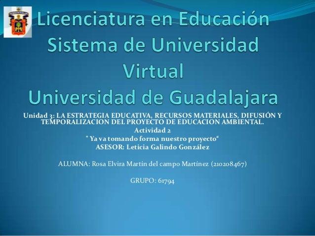 Unidad 3: LA ESTRATEGIA EDUCATIVA, RECURSOS MATERIALES, DIFUSIÓN Y    TEMPORALIZACION DEL PROYECTO DE EDUCACION AMBIENTAL....