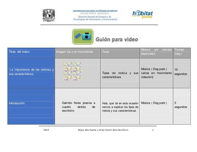 2010 Reyna Díaz Huerta y Erika Yazmin Avila Bonifacio 1 Título del video: Imagen fija o en movimiento Texto Música y/o efe...