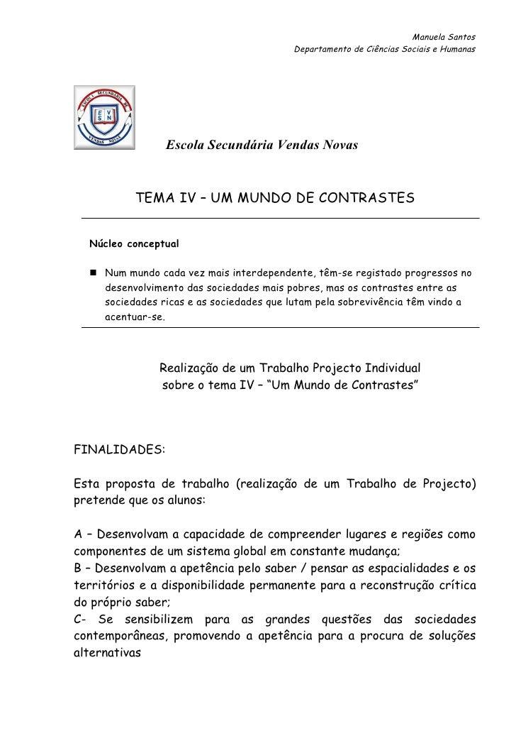 Manuela Santos                                          Departamento de Ciências Sociais e Humanas                Escola S...