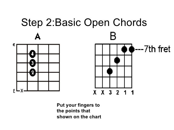 Step 2:Basic Open Chords   Put your fingers to the points that shown on the chart