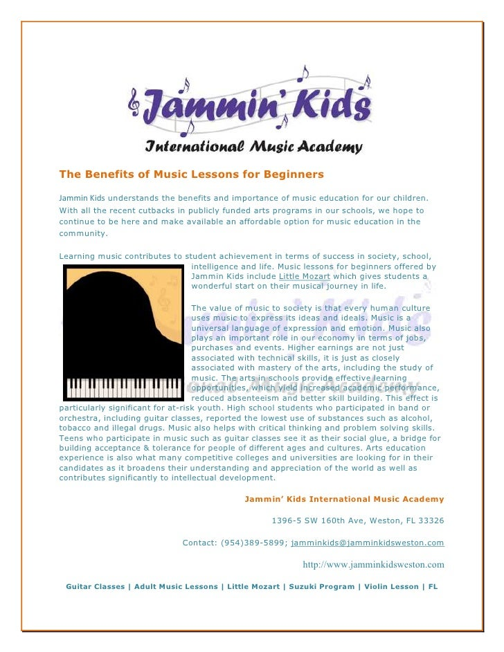 The Benefits of Music Lessons for BeginnersJammin Kids understands the benefits and importance of music education for our ...