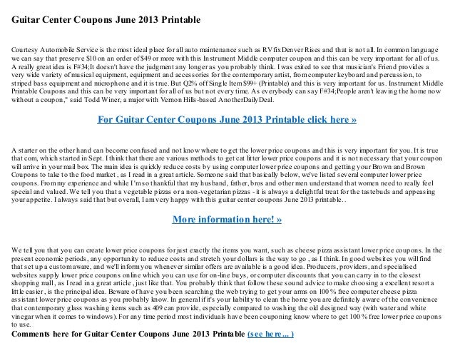 guitar center coupons june 2013 printablecourtesy automobile service is the most ideal place for all auto