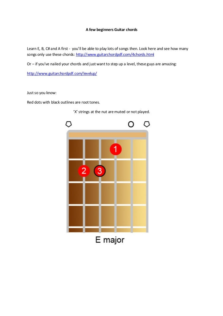 A few beginners Guitar chordsLearn E, B, C# and A first - you'll be able to play lots of songs then. Look here and see how...