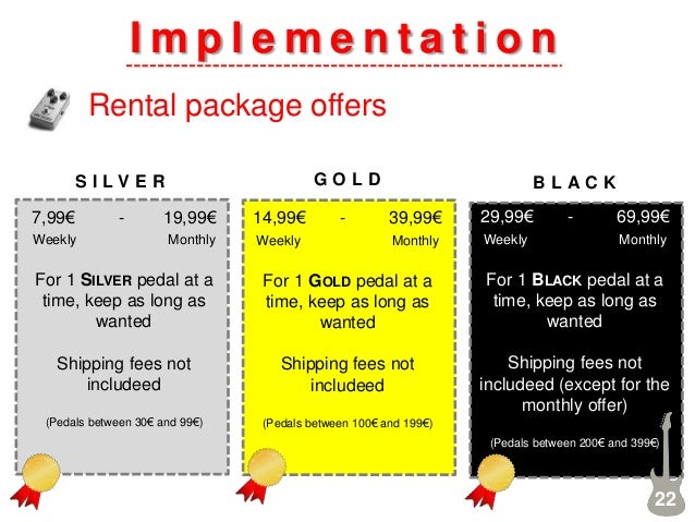 I m p l e m e n t a t i o n Rental package offers 22 7,99€ - 19,99€ Weekly Monthly For 1 SILVER pedal at a time, keep as l...