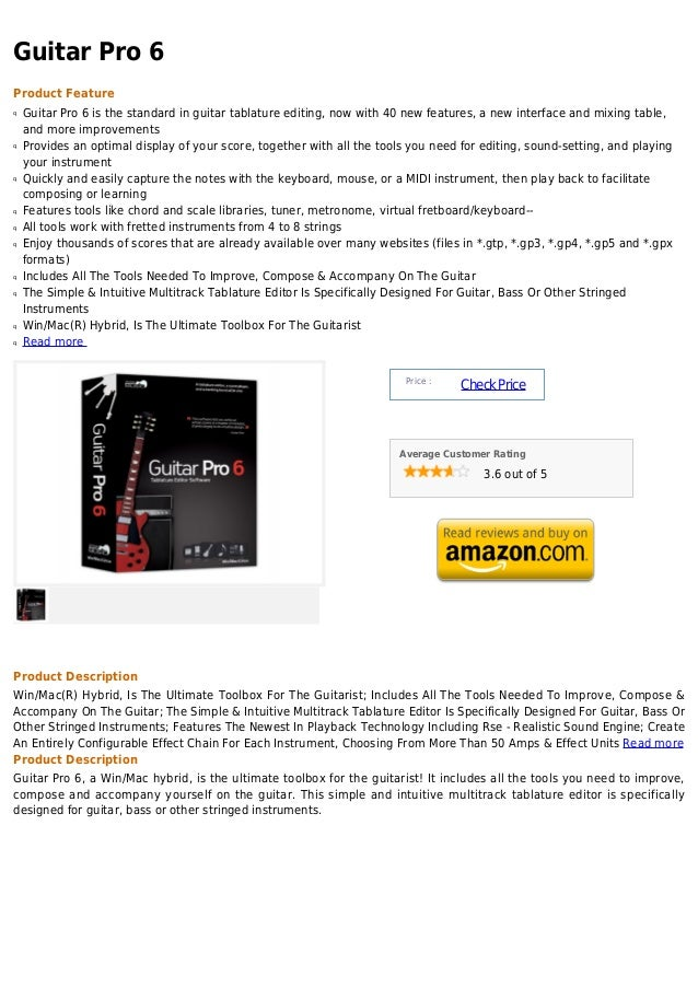 Guitar Pro 6Product Featureq   Guitar Pro 6 is the standard in guitar tablature editing, now with 40 new features, a new i...