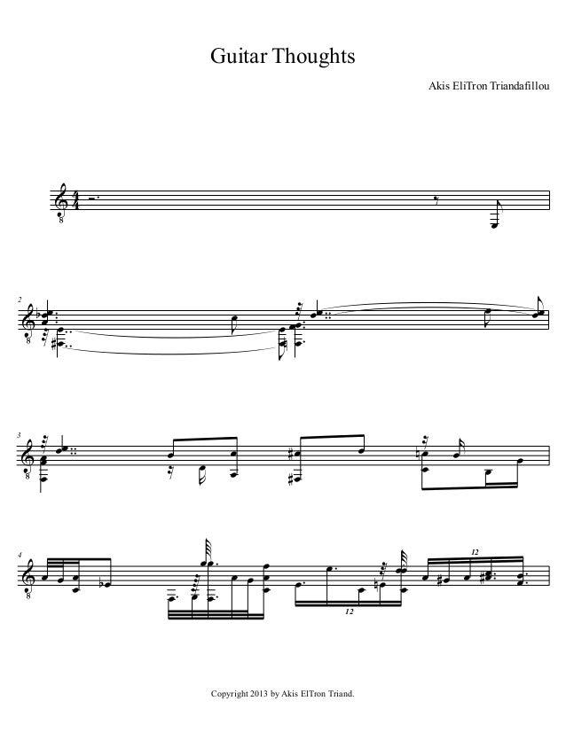 Guitar Thoughts Akis EliTron Triandafillou  3 Υ 3 Ó−  2  3  ‰  œ œ− Υ α œ −−œ −− ↑∀ œ −−  œ Ι  ↑ œœ −− Υ œ −− œ œ  4  Υœ œ...