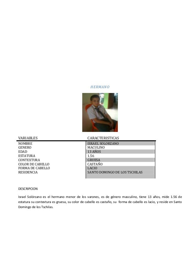 HERMANO  VARIABLES  CARACTERISTICAS  NOMBRE GENERO EDAD ESTATURA CONTEXTURA COLOR DE CABELLO FORMA DE CABELLO RESIDENCIA  ...