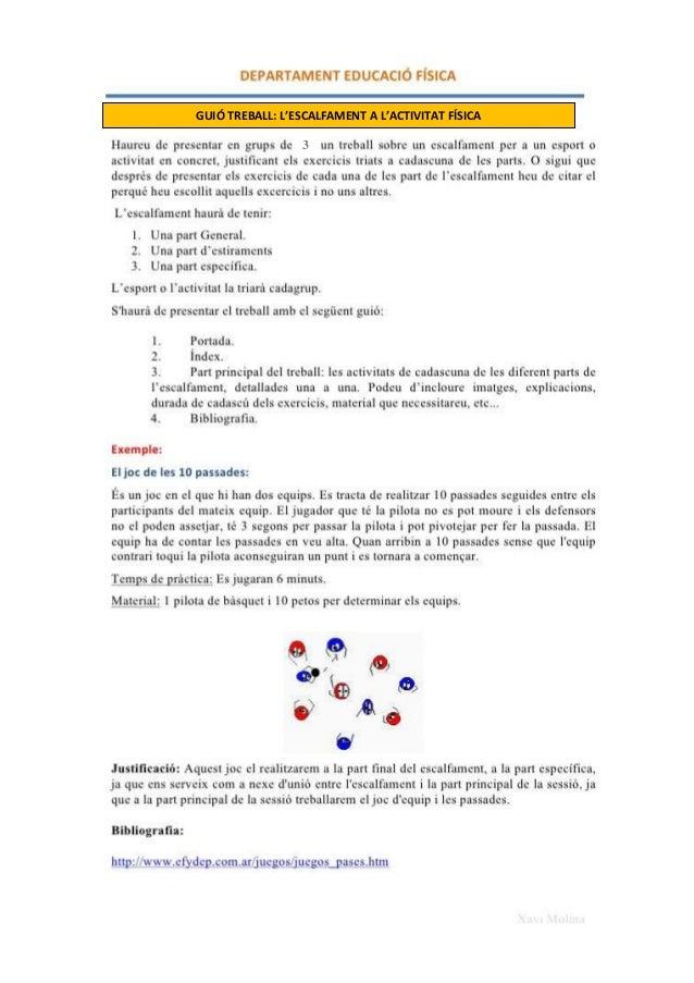 GUIÓ TREBALL: L'ESCALFAMENT A L'ACTIVITAT FÍSICA 3