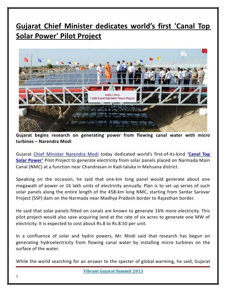Gujarat Chief Minister dedicates world's first Canal TopSolar Power Pilot ProjectGujarat begins research on generating pow...