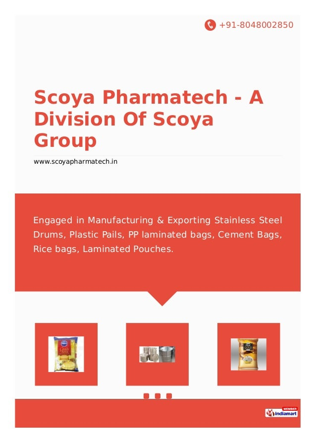 +91-8048002850 Scoya Pharmatech - A Division Of Scoya Group www.scoyapharmatech.in Engaged in Manufacturing & Exporting St...