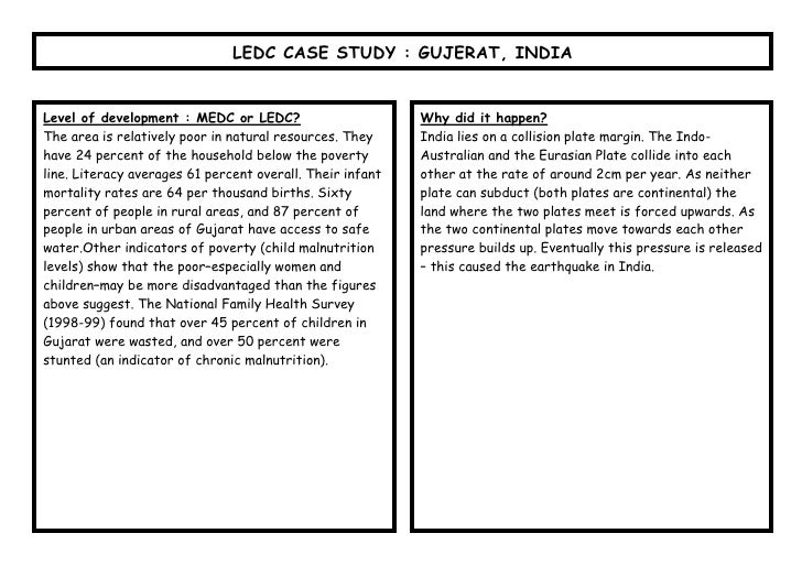 LEDC CASE STUDY : GUJERAT, INDIALevel of development : MEDC or LEDC?                       Why did it happen?The area is r...