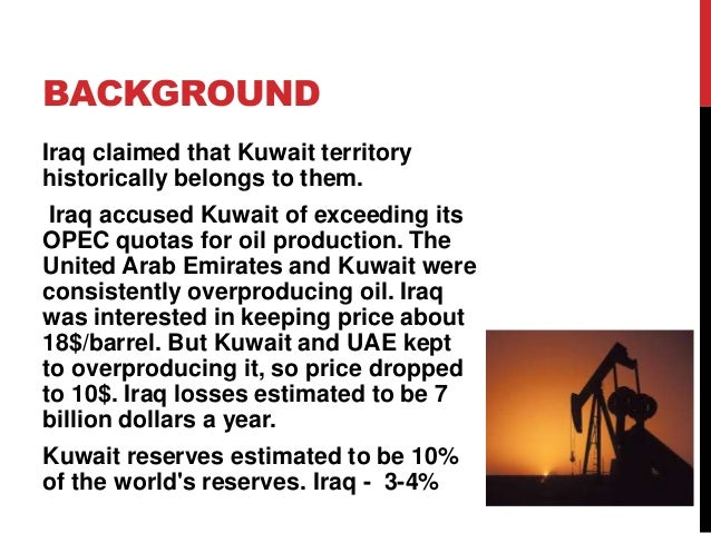 Us intervention on kuwait inevitably led to the gulf war