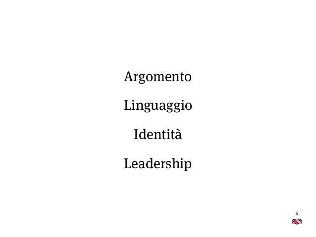 8 Argomento Linguaggio Identità Leadership