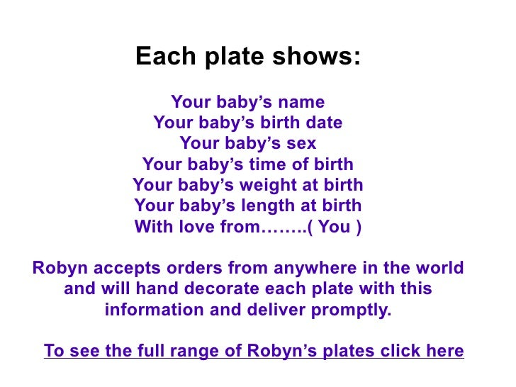 Personalized baby gift plates order here 9 each plate shows your babys negle Gallery