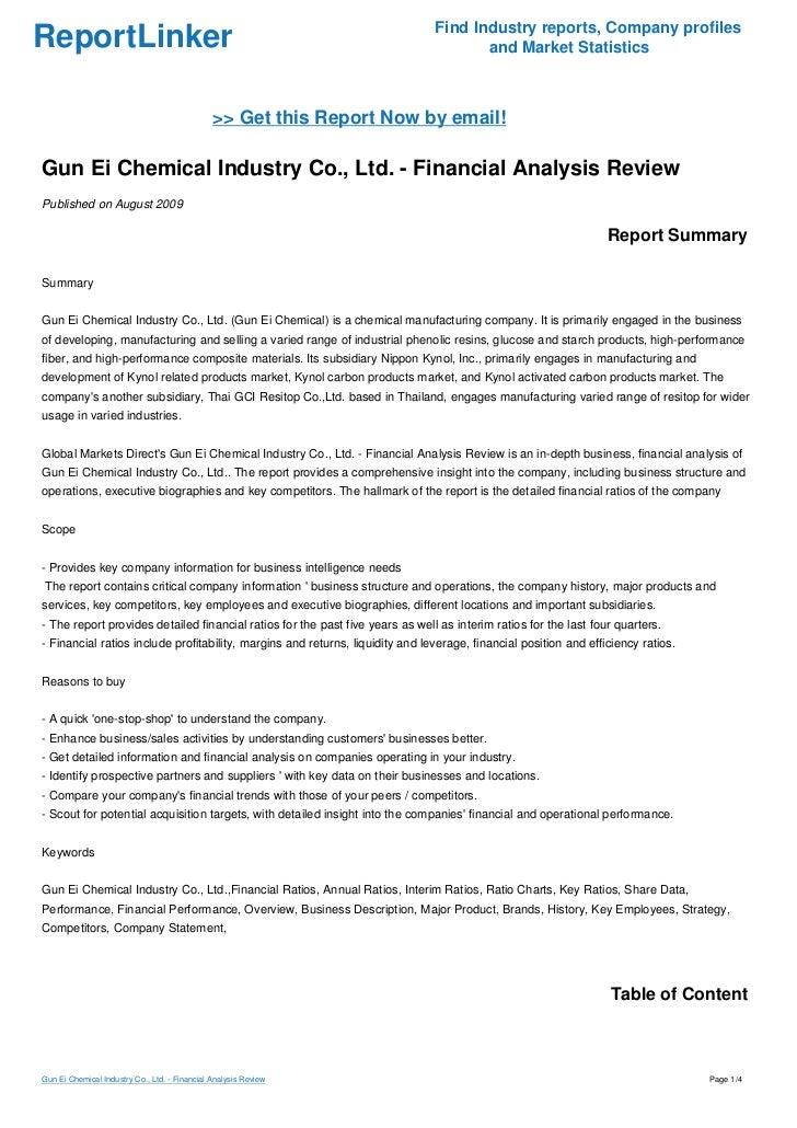 Gun Ei Chemical Industry Co , Ltd  - Financial Analysis Review