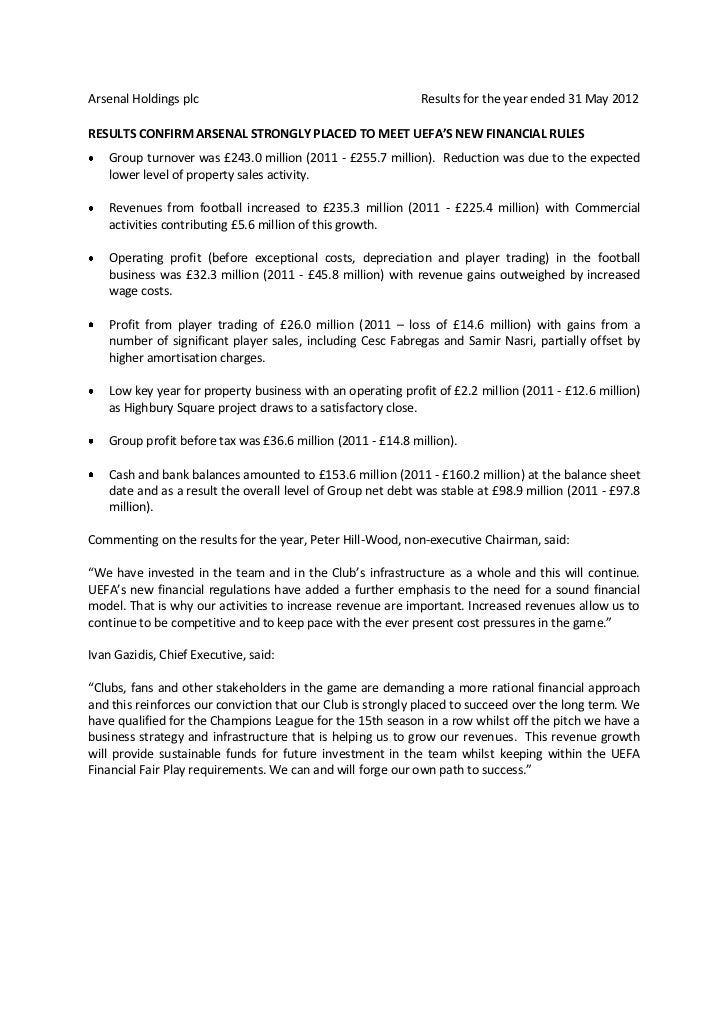 Arsenal Holdings plc                                          Results for the year ended 31 May 2012RESULTS CONFIRM ARSENA...