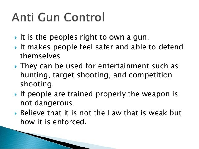 Introduction and conclusion to gun control
