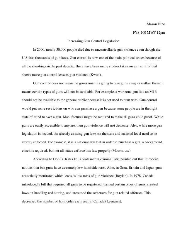 Essays against gun control thesis uk