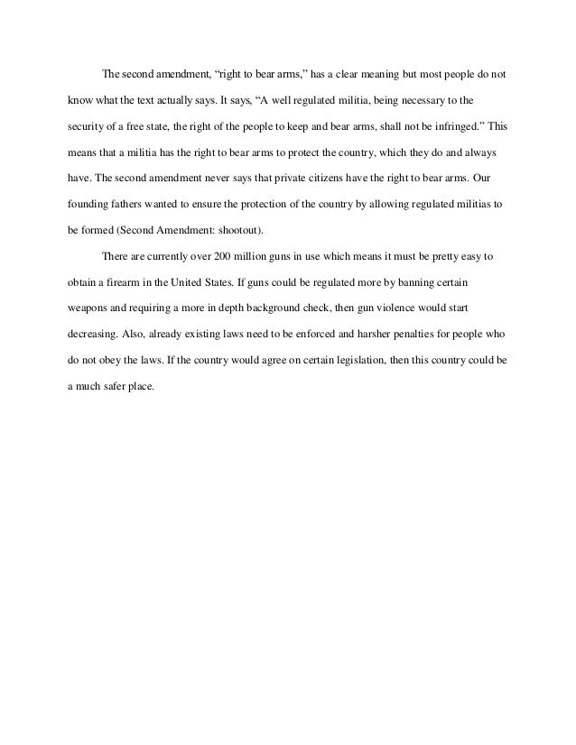 essay about gun control in america Gun control - should we, or should we not my essay on gun control for my english class: gun control - should we, or should we not the issue of gun control has come up recently as an important decision opportunity for our country.