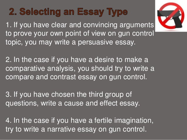 gun control persuasive essay introduction To some people gun control is a crime issue, to others it is a rights issue gun control is a safety issue, an education issue, a racial issue, and a in addition, those who resist with a gun are less likely to be injured than those who use a less [ gun control essay.