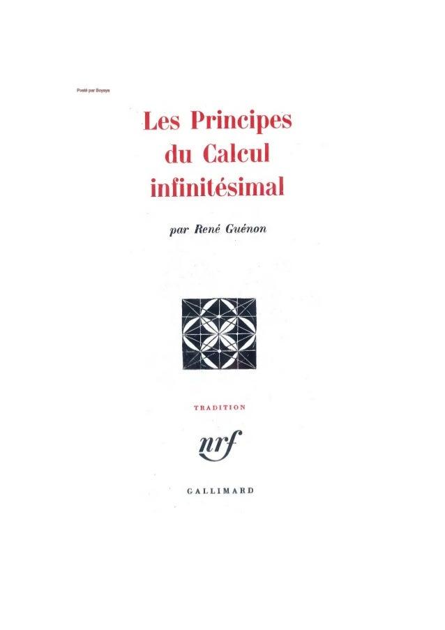 Guénon - les principes du calcul infinitésimal