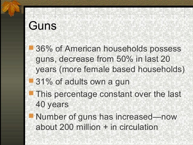 Guns 36% of American households possessguns, decrease from 50% in last 20years (more female based households) 31% of adu...