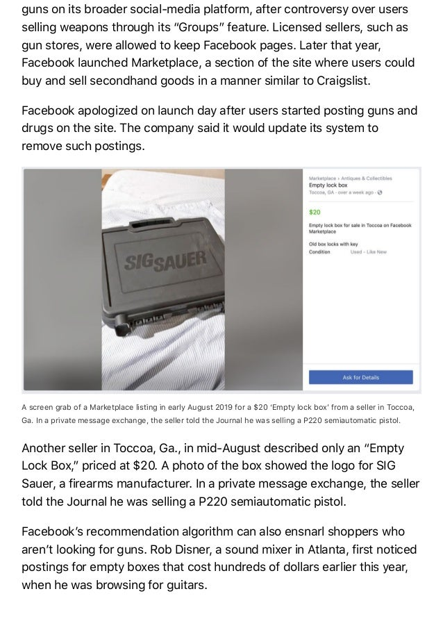 Gun Sellers Are Sneaking Onto Facebook's Booming Secondhand