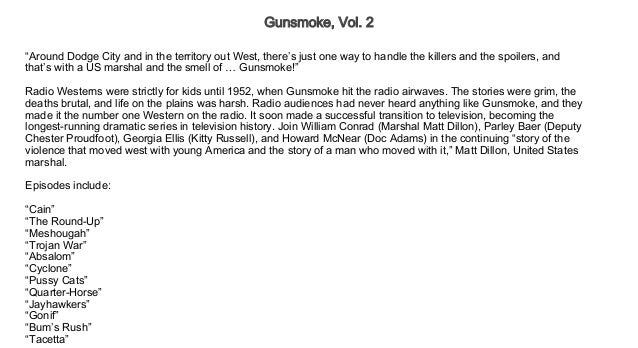 Gunsmoke, Vol  2 Free Audio books Trial