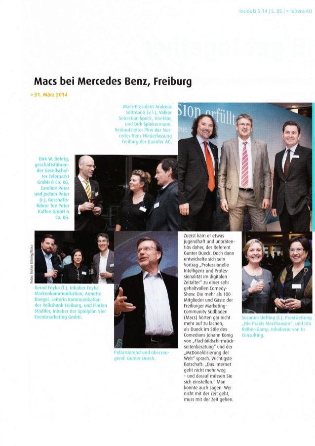 Macs bei Mercedes Benz, Freiburg geschaltsluhren- der Gesellschaf- ter Telemarkt GmbH I (o. KG, Caroline Peter und Jochen ...