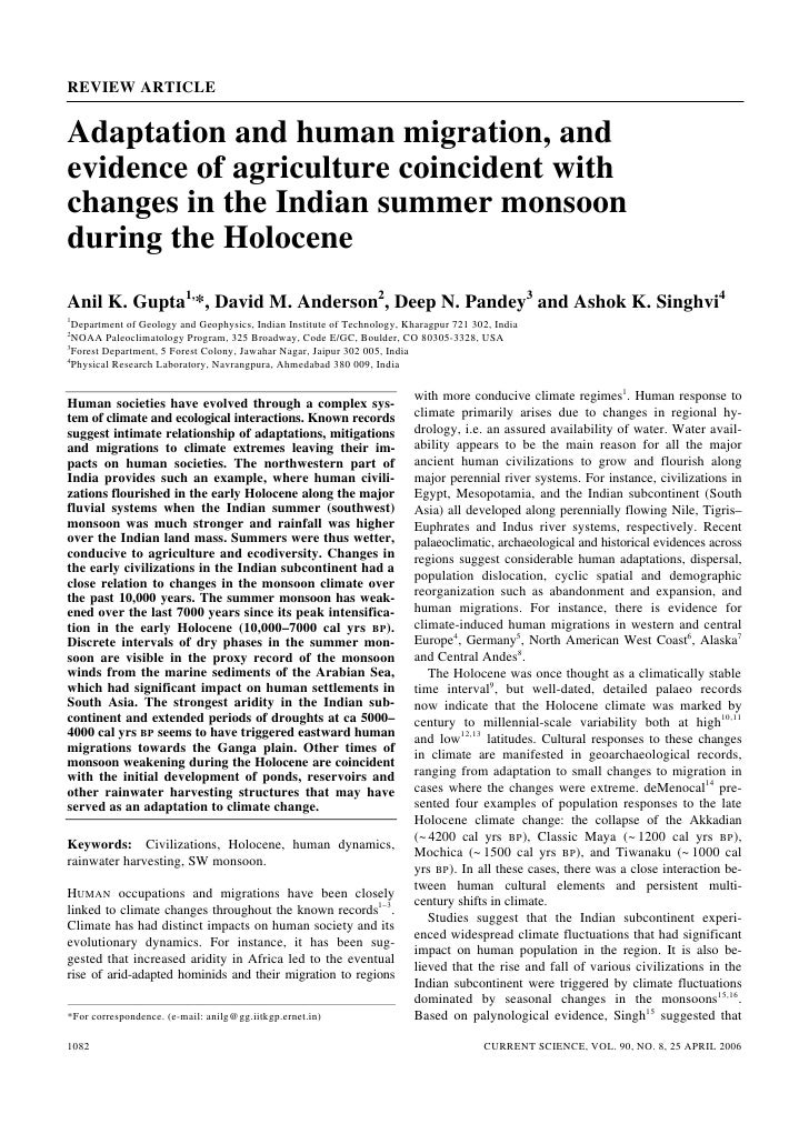 REVIEW ARTICLE   Adaptation and human migration, and evidence of agriculture coincident with changes in the Indian summer ...