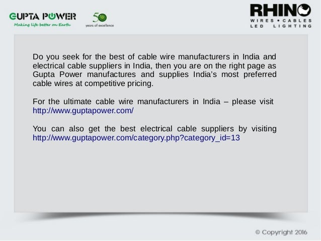 The Best Cable wire manufacturers in India
