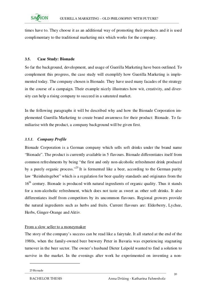 bionade case study 2018-5-21  marketing - bionade case marketing - bionade case 2627 words may 21st, 2008 11 pages  mgt 6170-marketing, unilever in brazil case study.