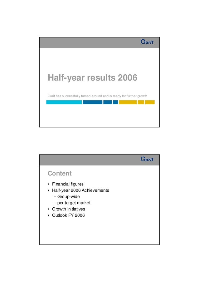 Half-year results 2006Gurit has successfully turned-around and is ready for further growthContent• Financial figures• Half...