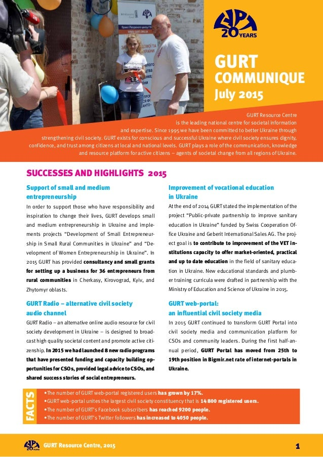 GURT Communique July 2015 GURT Resource Centre is the leading national centre for societal information and expertise. Sinc...