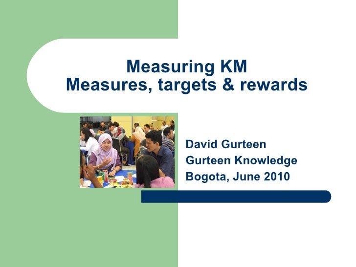Measuring KM Measures, targets & rewards David Gurteen Gurteen Knowledge Bogota, June 2010