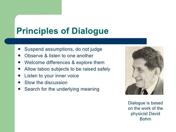 Principles of Dialogue <ul><li>Suspend assumptions, do not judge </li></ul><ul><li>Observe & listen to one another </li></...