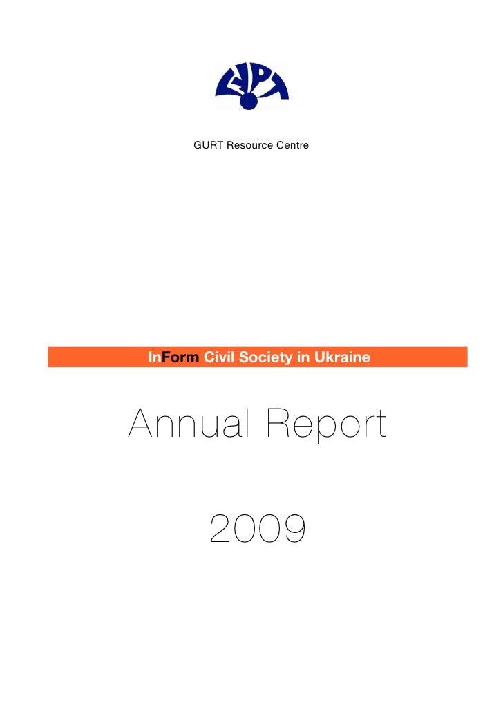 GURT Resource Centre     InForm Civil Society in Ukraine    Annual Report          2009